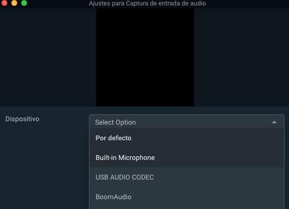 Fuente captura entrada de audio